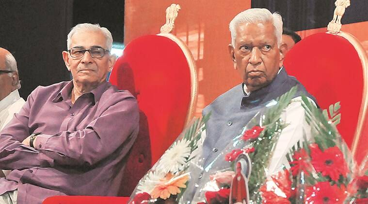 Gujarat Governor O P Kohli with his Karnataka counterpart Vajubhai Vala in Ahmedabad on Saturday. (Source: Express photo by Javed Raja)