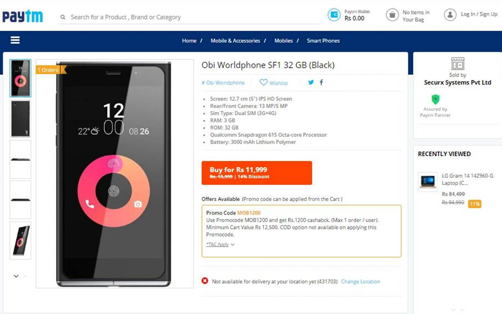 Obi, Paytm, Obi Worldphone SF1 Paytm availability, Obi Worldphone SF1 available on Paytm, Obi Worldphone SF1 review, Obi Worldphone SF1 specifications, Obi Worldphone SF1 price, smartphones, Android, mobiles, tech news, technology