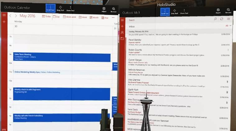 Outlook app on HoloLens projects mails in the form of light on user's retina (Source: Office Blogs)