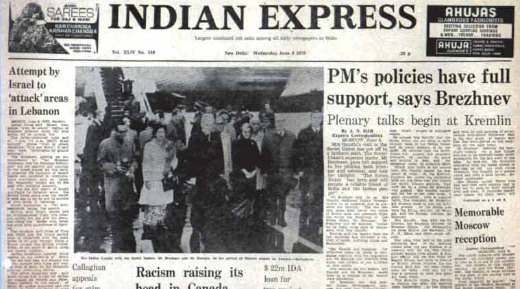 forty years ago, indian express newspaper, indian express newspaper forty years ago, june 9 1976 indian express newspaper, indira gandhi, indira gandhi in moscow, israel warplanes, syrian troops, james callaghan, indian express editorial