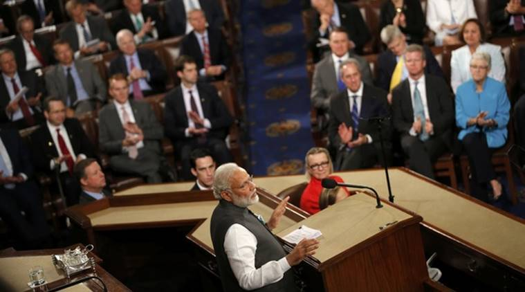 Prime Minister Narendra Modi addresses a joint meeting of Congress in the House Chamber on Capitol Hill in Washington DC. (Source: Reuters photo)