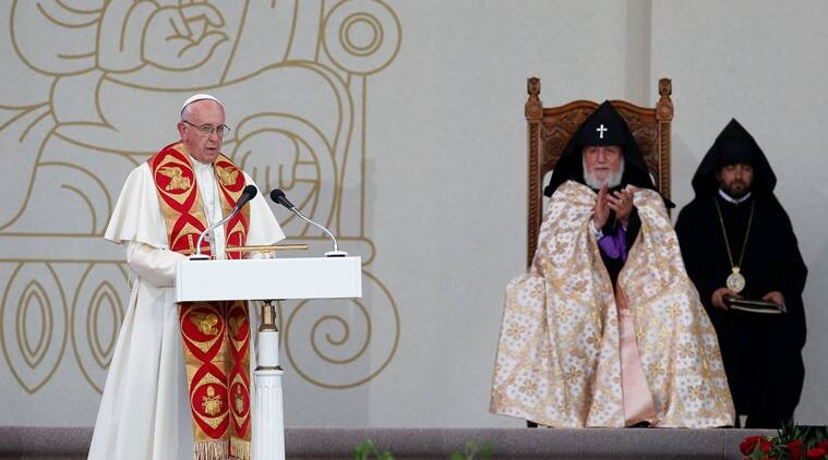 Pope Francis and Catholicos of All Armenians Karekin II attend an ecumenical service at the Republic Square in Yerevan, Armenia, June 25, 2016. REUTERS/David Mdzinarishvili