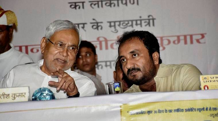 Bihar Chief Minister Nitish Kumar with Mathematician Anand during book release function at Rabindra bhawan in Patna on Monday. (PTI Photo)