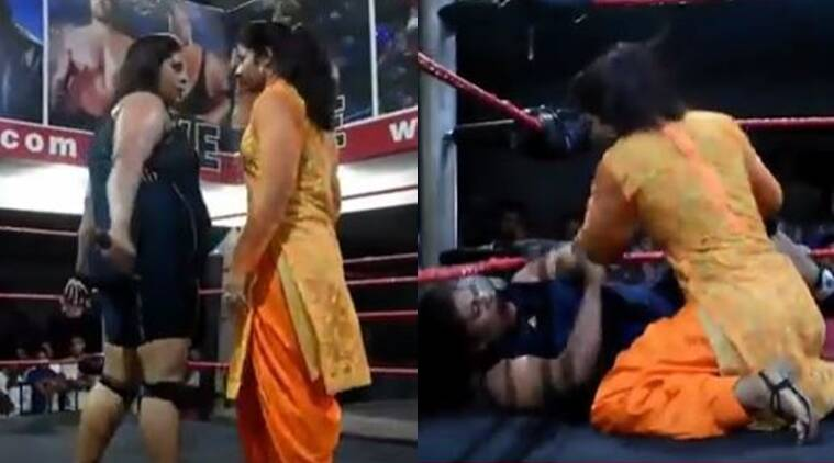 Punjabi woman knocks down a professional wrestler/ Screenshot