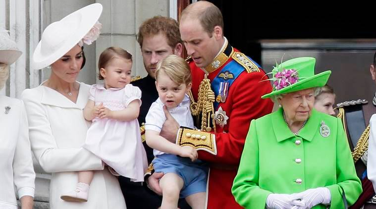Princess Charlotte, Queen Elizabeth birthday, Britain's Queen Elizabeth II, Prince William, Prince George, Kate, Duchess of Cambridge, Trooping The Colour parade, Buckingham Palace, London, Queen's birthday