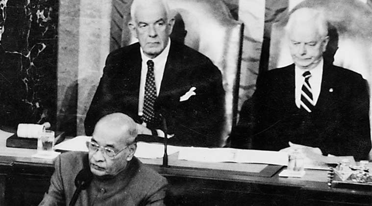Rao addresses the joint sitting of Congress. House Speaker Tom Foley is at the back left. (Express Archive)