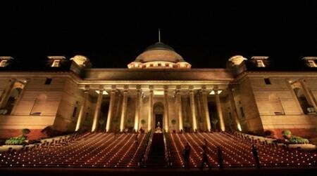 New Delhi: Rashtrapati Bhavan being illuminated for the banquet hosted in honour of visiting US President Barack Obama, in New Delhi on Monday. PTI Photo by Vijay Verma (PTI11_8_2010_000338B)