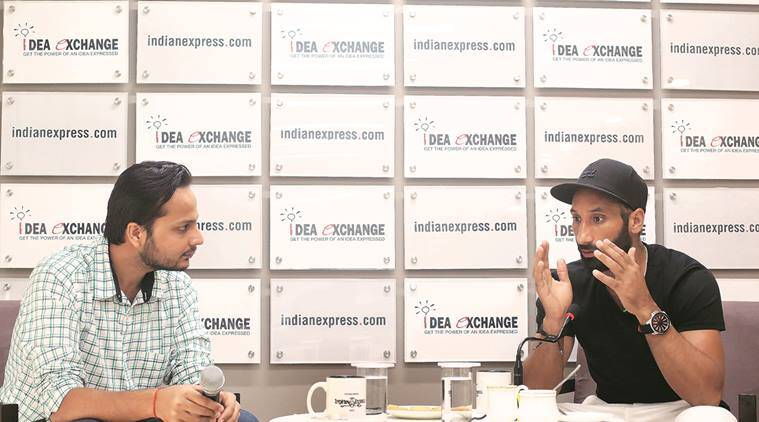 Sardar Singh (right) with Principal Correspondent Mihir Vasavda at The Indian Express office. (Express Photo by Amit Mehra)
