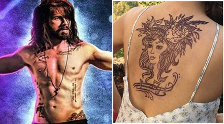 Shahid Kapoor flaunts his tattoos in Udta Punjab (L) while Taapsee Pannu gets the face of a beautiful woman inked on her back.
