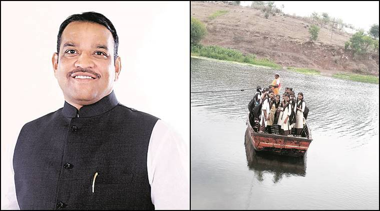 Pune,Pune news, MP Shrirang Barne, Nanoli and Varale villages, Indrayani river crossing, Indrayani river, students cross river he help of a ramshackle boat, he help of a ramshackle boat, students cross river to reach school, Maharashtra news, India news, latest news