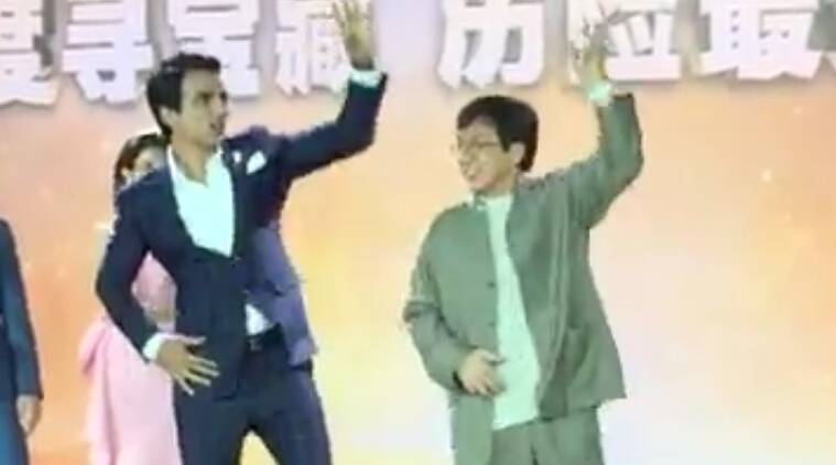 Jackie Chan, in a rare frame, was seen shaking a leg with Indian actor Sonu Sood to the Punjabi song Tunak tunak tun .