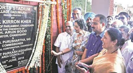 MP Kirron Kher, sports stadium Dadumajra, Dadumajra sports stadium, Kirron Kher inauguration, sports stadium Kirron Kher, Kher inaugurates stadium, Dadu majra sports stadium inaugurated, latest news, Chandigarh news, India news, national news