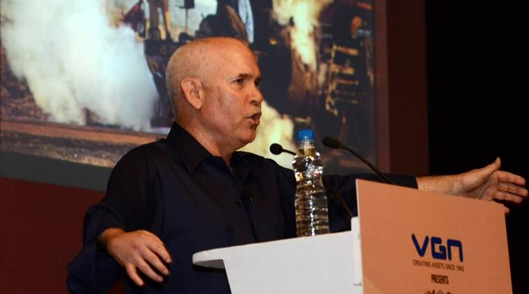 Photographer  Steve McCurry during a lecture at New Delhi.  Express Photo by Renuka Puri. 07.02.13.