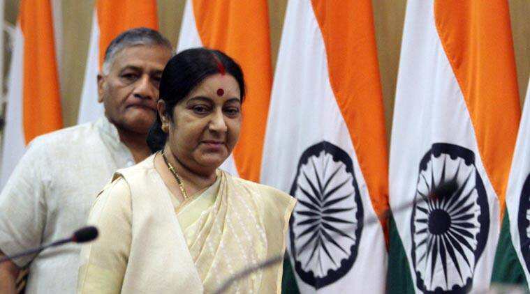 External Affairs Minister Sushma Swaraj and General VK Singh in New Delhi on Sunday. (Source: Express photo by Prem Nath Pandey)