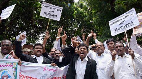 judge, judges, judge rally, Telangana Judges Association, Telangana, Andhra Pradesh, judges protest, judges hyderabad, telangana judges, andhra pradesh judges, telangana news, andhra pradesh news