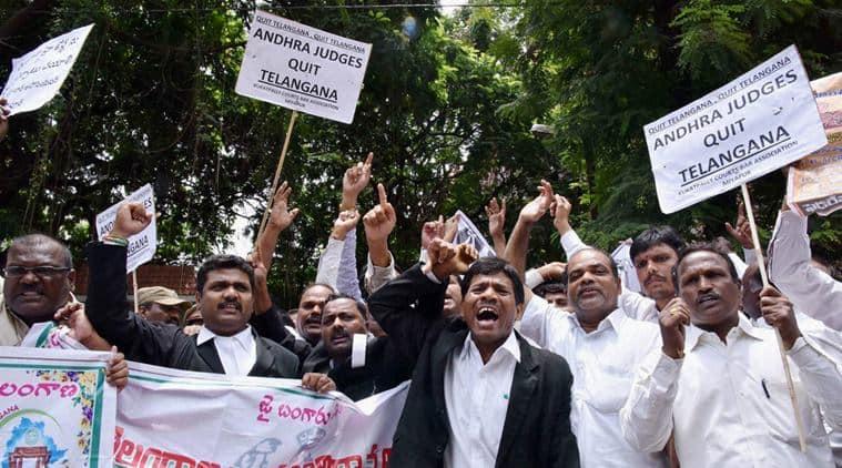 telangana, telangana judges, judges from telangana, telangana judge protest, judge rally, telangana judges association, andhra pradesh, indian express news, india news