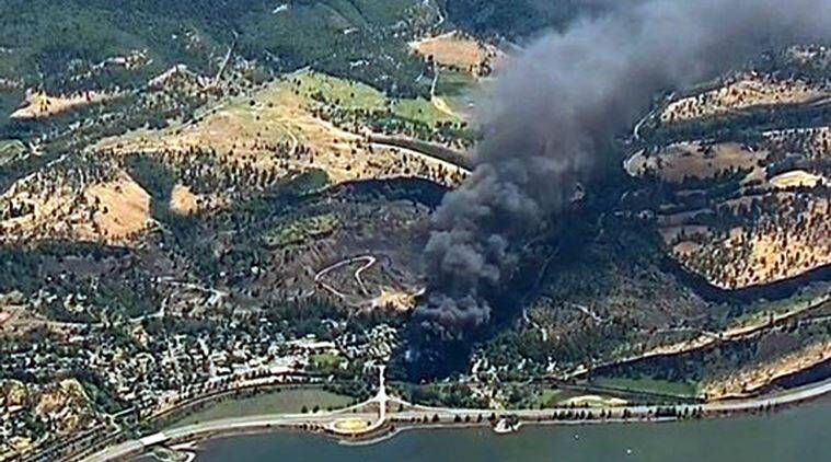 Oregon train derailment, Portland train derailment, Oregon train derail, crude oil train derailed, derailed train in fire, Fire near Columbia River gorge, Train ablaze in Oregon, Train ablaze in Portland,