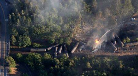 Video: Train carrying crude oil derails in Oregon, remains engulfed in flames for six hours