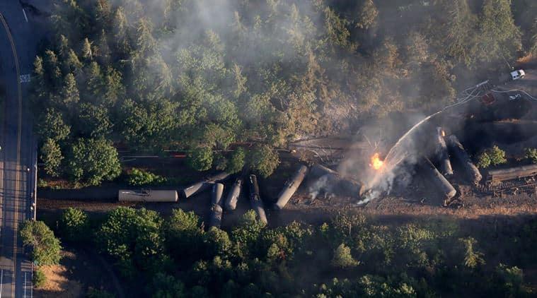 Oregon train derailment, Portland train derailment, Oregon train derail, crude oil train derailed, derailed train in fire, Fire near Columbia River gorge, Train ablaze in Oregon, Train ablaze in Portland,