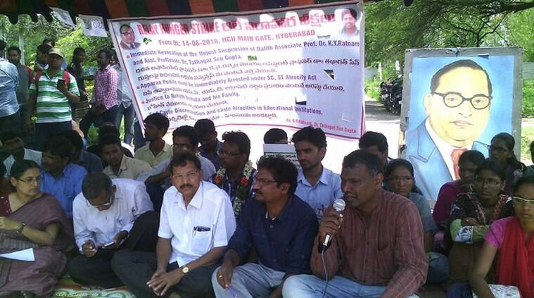 University of Hyderabad, UoH, HCU, K Y Ratnam, Tathagata Sengupta, teachers suspended, dalit professor suspended, hunger strike hyderabad, professor hunger strike, rohith vemula, caste discrimination Hyderabad university, Appa Rao Podile, india news