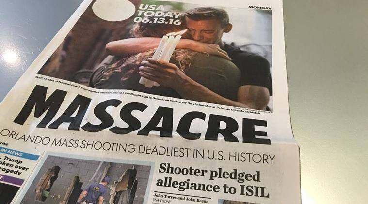 USA Today on 13 June, 2016, the day after the Orlando shooting.