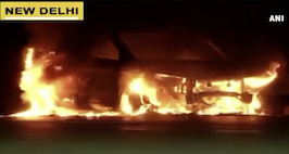 Watch Car Catches Fire Near Burari Ring Road