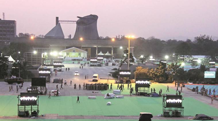 Preparation going at Capitol Complex for International Yoga Day in Chandigarh on Saturday. Express Photo