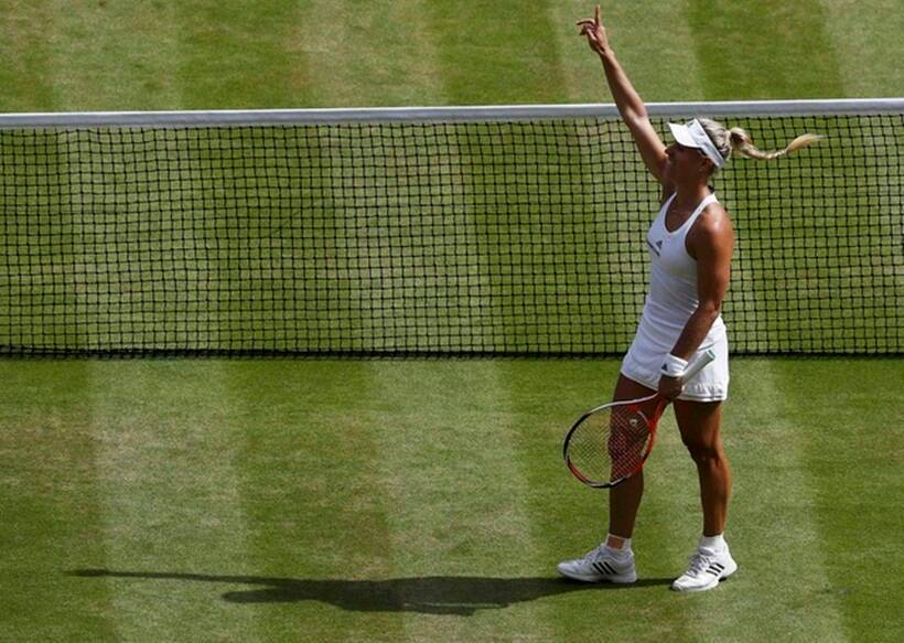 Germany's Angelique Kerber celebrates winning her match against USA's Venus Williams. (Source: Reuters)