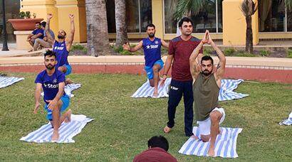 India vs West Indies, Ind vs WI, WI vs Ind, Virat Kohli, Ajinkya Rahane, Murali Vijay, Mohammad Shami, Umesh yadav, practice session, yoga, India team yoga, sports gallery, sports, cricket gallery, Cricket
