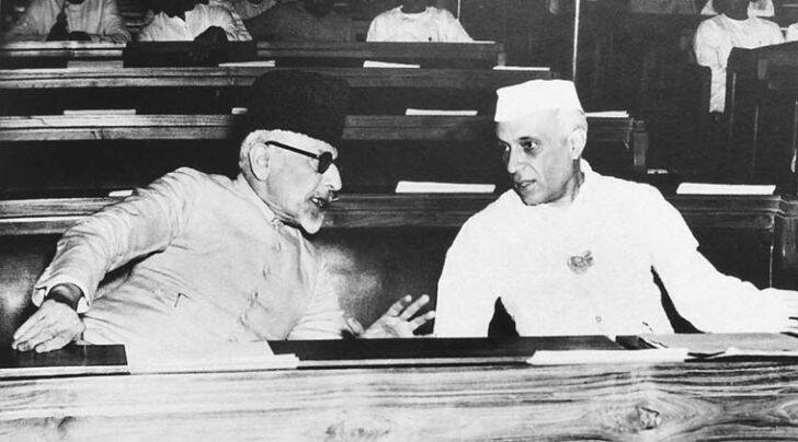 Pandit Jawaharlal Nehru with Maulana Abul Kalam Azad at the Constituent Assembly session of 1946    (Source: Express Archive)