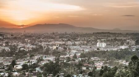 Aerial view of the city of Addis Ababa during sunset