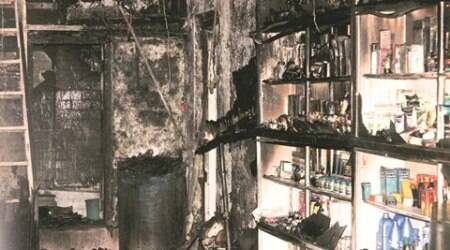 Fire broke out at Wafa Medical store at on Wireless Road, Juhu Galli, Andheri during the early hours of the day. 8 people died in the accident and 1 is greviously injured. Express photo by Aman Deshmukh. 30th June, 2016.