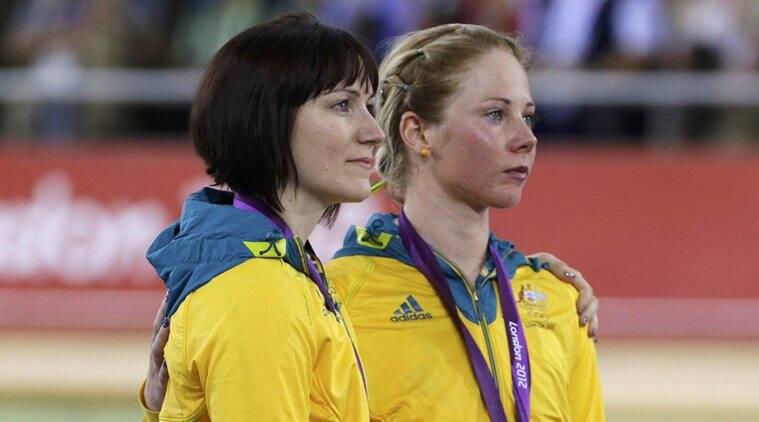 "Australia's bronze medallists Kaarle McCulloch (R) and Anna Meares stand on the podium during the victory ceremony after the track cycling women's team sprint finals at the Velodrome during the London 2012 Olympic Games *** Local Caption *** ""Australia's bronze medallists Kaarle McCulloch (R) and Anna Meares stand on the podium during the victory ceremony after the track cycling women's team sprint finals at the Velodrome during the London 2012 Olympic Games August 2, 2012. REUTERS"""
