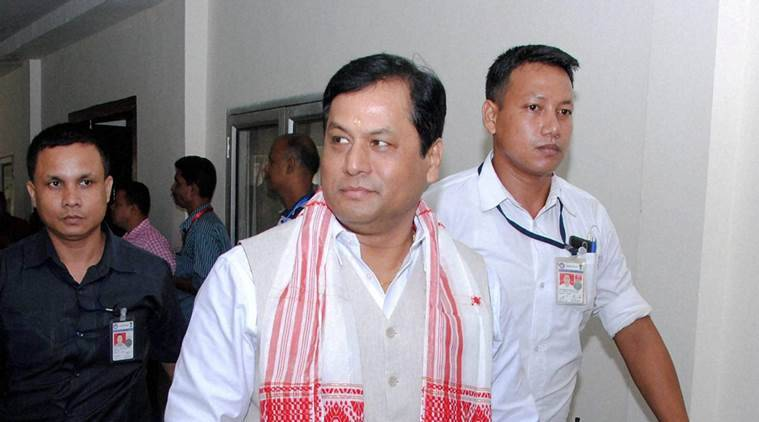 Guwahati : Assam Chief Minister Sarbananda Sonowal walks to Assembly house on the 1st day of Budget session at Dispur in Guwahati on Monday. PTI Photo (PTI7_18_2016_000179A)
