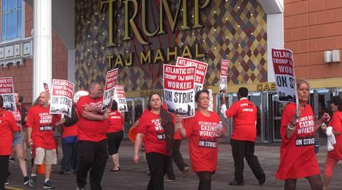 Taj Mahal, Taj Mahal casino, Trump, Trump Taj Mahal, Trump Taj Mahal casino, Trum Taj Mahal protest, news, US news, world news, international news, latest news, Unite HERE, Icahn, Trump Entertainment Resorts, Caesars Entertainment