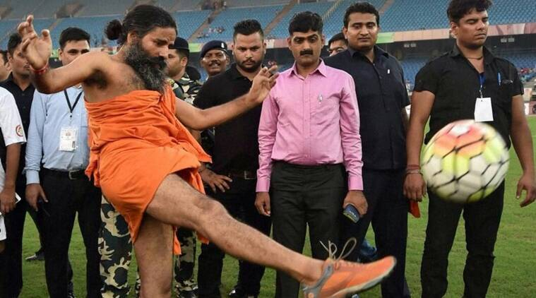 Rishi Kapoor, baba ramdev, baba ramdev playing football, baba ramdev charity match, rishi kapoor baba ramdev