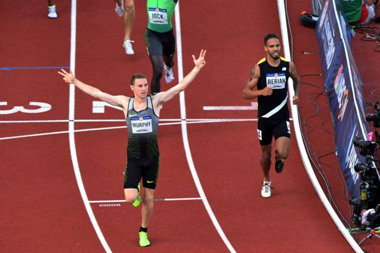 Clayton Murphy (left) reacts as he and Boris Berian (right) compete during the men's 800m final. (Source: USA Today Sports)