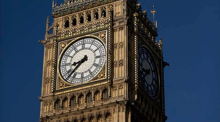 An exterior view shows the Elizabeth Tower, which houses the Big Ben bell in London, Tuesday, April 26, 2016. Officials say the chimes of Britain's Big Ben bell will fall silent for several months during a three-year restoration of Parliament's crumbling clock tower. (AP Photo/Matt Dunham)
