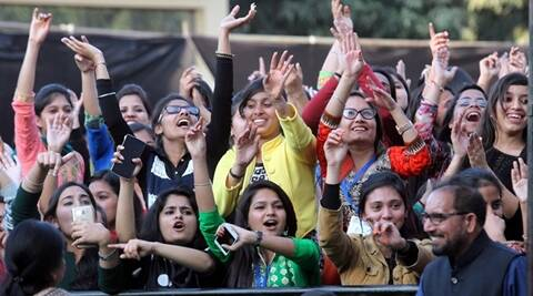Students enjoying during famous Punjabi Singer Jazzy B performing on concluding day of the Fest at SD College in Chandigarh on Wednesday, February 17 2016. Express photo by Jasbir Malhi