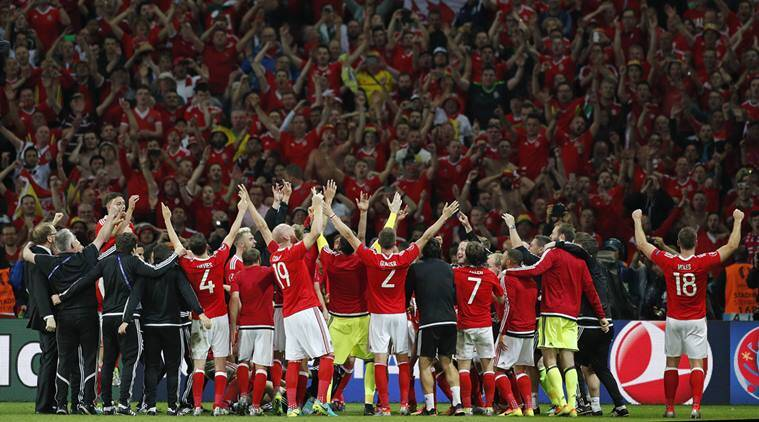 Welsh fans celebrate Euro 2016 victory against Belgium