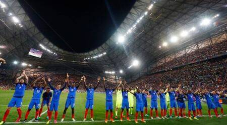 Football Soccer - Germany v France - EURO 2016 - Semi Final - Stade Velodrome, Marseille, France - 7/7/16 France players celebrate at the end of the game REUTERS/Christian Hartmann Livepic