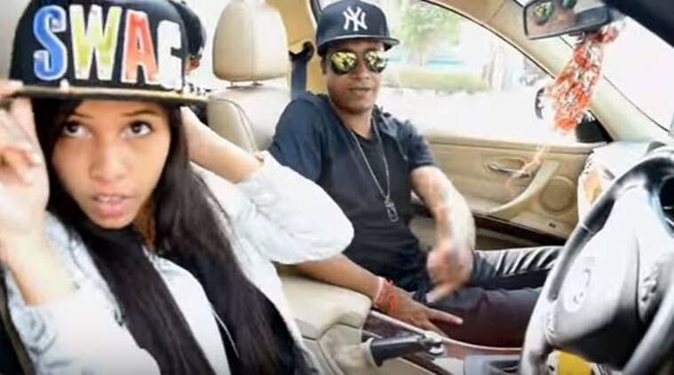 That's Dhinchak Pooja with her SWAG cap!