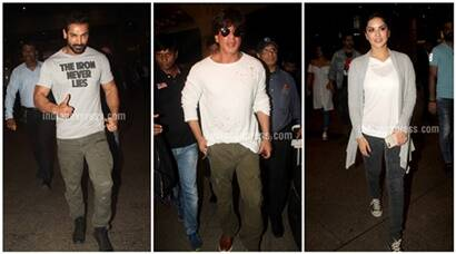 Shah Rukh Khan, Dishoom team, Sunny Leone return to Mumbai, see pics