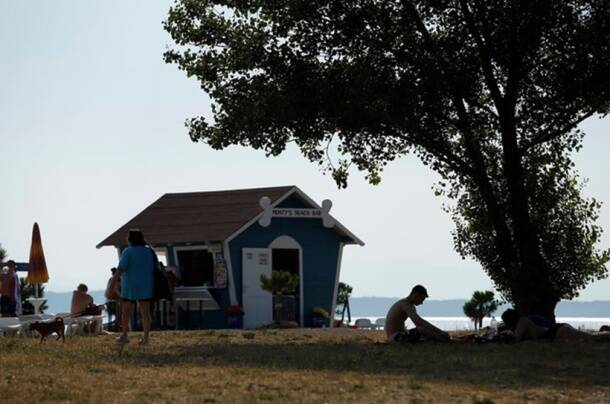 A dog beach and bar is seen in Crikvenica
