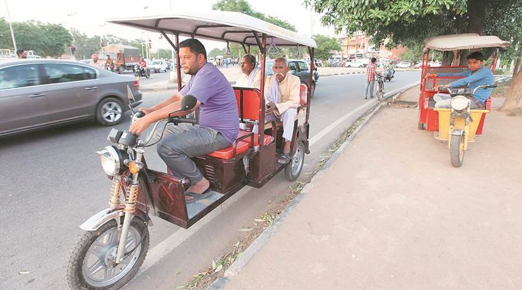 e ricks delhi, metro rickshaw delhi, delhi govt, electronic rickshaw delhi, delhi high court, e rick routes delhi, e rick routes south delhi, delhi news, indian express