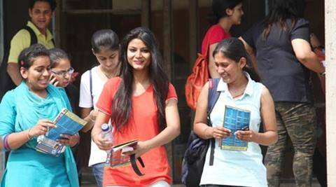 Students coming out from Arts Block in Panjab University after Common Entrance Test 2014 in Chandigarh on Monday, June 16 2014. Express Photo by Kamleshwar Singh