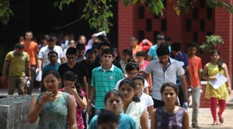 Applicants to the All India Pre Medical Tests after giving their entrance examination at the Kerala school in central Delhi on saturday. Express Photo by Tashi Tobgyal New Delhi 250715