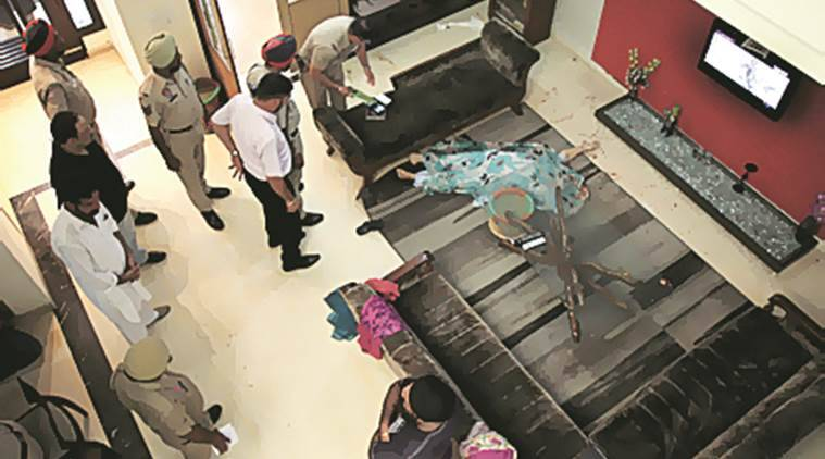Police inspects at house where sandeep Singh Killes three of family members before  killing himself at BRS Nagar in Ludhiana.Express Photo by gurmeet singh