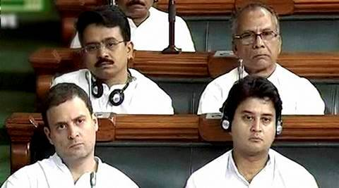 New Delhi: Congress Vice President Rahul Gandhi and Jyotiraditya Scindia in the Lok Sabha in New Delhi on Thursday during the ongoing monsoon session. PTI Photo / TV GRAB   (PTI7_28_2016_000197A)