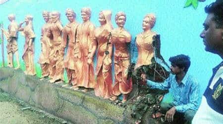 Missing 'Gyarah Murti' figure: Godhra Municipality begins work to modify Dandi marchsculpture
